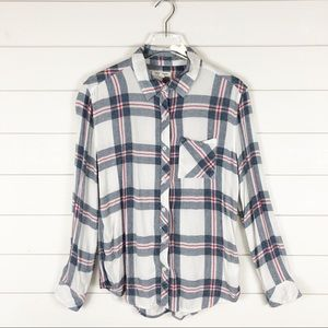 BeachLunchLounge Plaid Pink Blue White Button Down